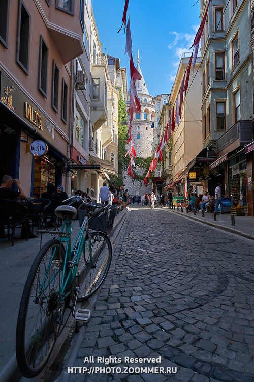 Bicycle on street of Galata tower district in Istanbul, Turkey