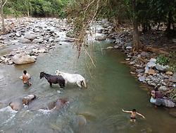 Boys with horses in the Guapinol river, Colón, Honduras.