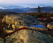 Autumn from the summit of Cadillac Mountain, Sutton Island and Great Cranberry Island beyond, Mount Desert Island, Acadia National Park, Maine.