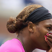 Serena Williams (left) and Venus Williams, USA, in action against Alisa Kleybanova, and Ekaterina Makarova, Russia, in the Women's doubles competition during the US Open Tennis Tournament at Flushing Meadows, New York, USA, on Thursday, September 10, 2009. Photo Tim Clayton