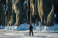 Cross-country skiing near Bluff Island. The rocks look like elephant.