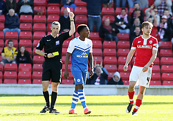 Peterborough United's Kgosi Ntlhe is shown a second yellow card - Photo mandatory by-line: Joe Dent/JMP - Mobile: 07966 386802 - 18/04/2015 - SPORT - Football - Barnsley - Oakwell - Barnsley v Peterborough United - Sky Bet League One
