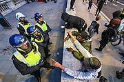 Protestors argue with police after clashes in central London on Wednesday, June 3, 2020. (Photo/ Vudi Xhymshiti)