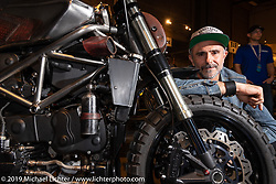 Oneyedeer's Seba Achaval with his Arriera, a 2003 Ducati 749 custom inspired by the hard working people and artisan work of Argentina from where he comes. On display at the Handbuilt Show. Austin, Texas USA. Saturday, April 13, 2019. Photography ©2019 Michael Lichter.