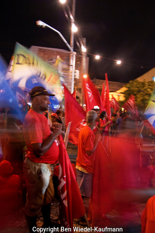 March and campaign in Racife Brazil  prior to presidential election of Dilma Vana Rousseff 22.10.10 celebration