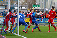 AFC Wimbledon defender Steve Seddon (15) battles for possession during the EFL Sky Bet League 1 match between AFC Wimbledon and Accrington Stanley at the Cherry Red Records Stadium, Kingston, England on 6 April 2019.