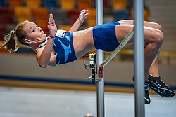 Nadine Broersen in action on high jump during the Dutch Athletics Championships on 14 February 2021 in Apeldoorn