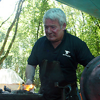 """Eibhlin Dermody teaches the art of Blacksmith at the """"Summer in the Woods"""" festival in Tuamgraney, Clare on Saturday organised by CELT (centre for enviornmental living and training).Pic. Brian Arthur/ Press 22."""