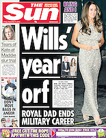 The Sun Page One: The Duchess of Cambridge attends the Tusk Trust Awards at the Royal Society on the 12th September 2013<br /> <br /> Picture by James Whatling