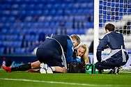 Birmingham City goalkeeper Emily Ramsey (21) has injury time out during the FA Women's Super League match between Birmingham City Women and Brighton and Hove Albion Women at St Andrews, Birmingham United Kingdom on 12 September 2021.