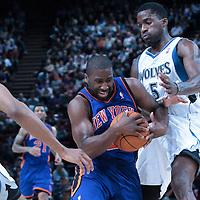 06 October 2010: New York Knicks guard Raymond Felton #2 drives past Minnesota Timberwolves forward Martell Webster #5 is seen during the Minnesota Timberwolves 106-100 victory over the New York Knicks, during 2010 NBA Europe Live, at the POPB Arena in Paris, France.