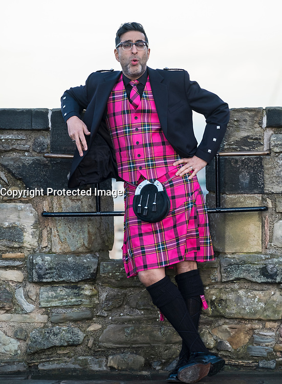 Edinburgh, Scotland, United Kingdom. 13 December , 2017. Actor Sanjeev Kohli, best known for his role in the comedy show Still Game, models the new Edinburgh Hogmanay tartan at Edinburgh Castle. The striking waistcoat and kilt were designed by Scottish clothing brand Slanj.