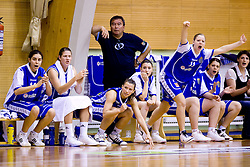 Players of Celje Tjasa Kopusar, Kristina Verbole, Iva Ciglar (5), Rebeka Abramovic, Amadeja Cverlin,  at finals match of Slovenian 1st Women league between KK Hit Kranjska Gora and ZKK Merkur Celje, on May 14, 2009, in Arena Vitranc, Kranjska Gora, Slovenia. Merkur Celje won the third time and became Slovenian National Champion. (Photo by Vid Ponikvar / Sportida)