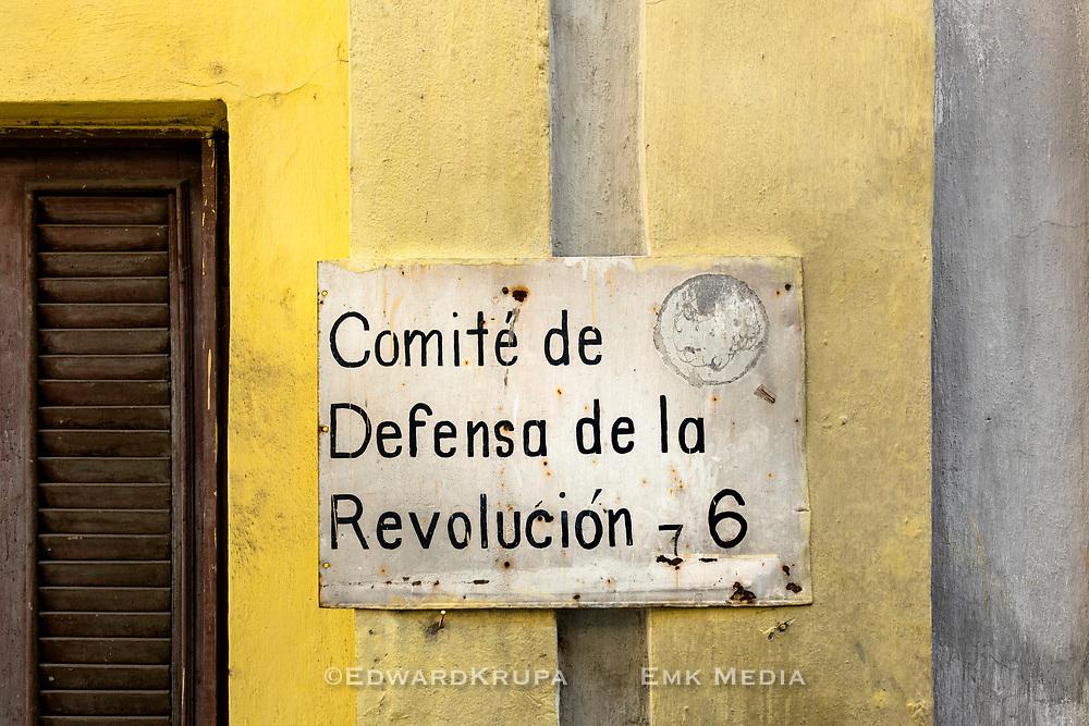 Comite de defensa de la revolution 6 sign on a building in Old Havana,
