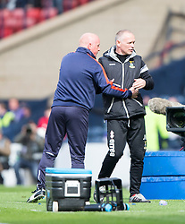 Falkirk's manager Peter Houston with Inverness Caledonian Thistle's manager John Hughes at the end. Falkirk 1 v 2 Inverness CT, Scottish Cup final at Hampden.