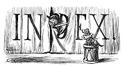 Punch Volume Index Heading. Vol 90, January - June 1886 (Mister Punch on stage poking his head through the curtains. Toby sitting on a drum)