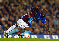 Fotball<br /> Foto: BPI/Digitalsport<br /> NORWAY ONLY<br /> <br /> Chelsea v West Ham United. 27/10/2004.<br /> <br /> Rufus Brevett of West Ham goes to ground with Geremi