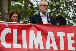 London, UK. 1st May, 2019. Leader of the Opposition Jeremy Corbyn addresses climate protesters at a Declare A Climate Emergency Now demonstration in Parliament Square organised to coincide with his motion in the House of Commons to declare an environment and climate emergency. The motion, which does not legally compel the Government to act, was passed without a vote.
