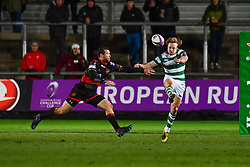Newcastle Falcons' Joel Hodgson puts in a clearing kick<br /> <br /> Photographer Craig Thomas/Replay Images<br /> <br /> EPCR Champions Cup Round 4 - Newport Gwent Dragons v Newcastle Falcons - Friday 15th December 2017 - Rodney Parade - Newport<br /> <br /> World Copyright © 2017 Replay Images. All rights reserved. info@replayimages.co.uk - www.replayimages.co.uk
