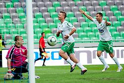 Dare Vrsic of NK Olimpija Ljubljana celebrate a spectacular goal during football match between NK Olimpija Ljubljana and NK Domzale of 9th Round of PrvaLiga, on September 17, 2011, in SRC Stozice, Ljubljana, Slovenia. (Photo by Matic Klansek Velej / Sportida)