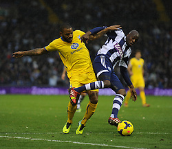 Crystal Palace's Jason Puncheon battles for the ball with West Bromwich Albion's Youssuf Mulumbu-Photo mandatory by-line: Alex James/JMP - Tel: Mobile: 07966 386802 02/11/2013 - SPORT - FOOTBALL - The Hawthorns - West Bromwich - West Bromwich Albion v Crystal Palace - Barclays Premier League