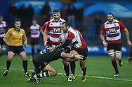 Gareth Davies of Cardiff Blues premiership select is tackled by Matt Everard of Nottingham. . British & Irish cup rugby, Cardiff Blues Premiership select v Nottingham Rugby at the BT sport Cardiff Arms Park in Cardiff, South Wales on Saturday 14th November 2015. pic by Andrew Orchard, Andrew Orchard sports photography.