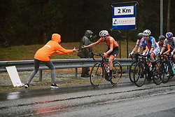 Anna van der Breggen (NED) gets rid of her glasses at the 2020 UEC Road European Championships - Elite Women Road Race, a 109.2 km road race in Plouay, France on August 27, 2020. Photo by Sean Robinson/velofocus.com