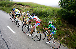 From R: Domenico Pozzovivo (ITA) of CSF Group - Navigare, Matija Kvasina  of Croatian National Team, Dario David Cioni (ITA) of ISD - NERI, Jakob Fuglsang (DEN) of Team Saxo Bank and Jens Voigt (GER) of Team Saxo Bank going uphill to Krvavec at 3rd stage of Tour de Slovenie 2009 from Lenart to Krvavec, 175 km, on June 20 2009, Slovenia. (Photo by Vid Ponikvar / Sportida)