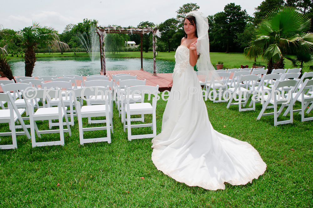 Brides Amee and Lindsay model at the Kemah Gardens Bed and Breakfast in Kemah Texas.