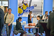 Nederland, Amsterdam, 16-3-2013De carrierebeurs in de RAI. Banenmarkt voor kader en hoogopgeleid personeel, mensen.Beurs voor studenten, starters op de arbeidsmarkt met een technische, economische, bedrijfskundige,  juridische of informatica opleiding. Grootste banenmarkt van Nederland voor wie bijna afgestudeerd of werkzoekend is. Tata steel, hoogovens.Foto: Flip Franssen/Hollandse Hoogte