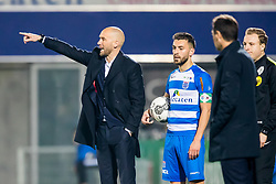 (L-R) coach Mitchell van der Gaag of sbv Excelsior, Bram van Polen of PEC Zwolle during the Dutch Eredivisie match between PEC Zwolle and sbv Excelsior Rotterdam at the MAC3Park stadium on April 14, 2018 in Zwolle, The Netherlands