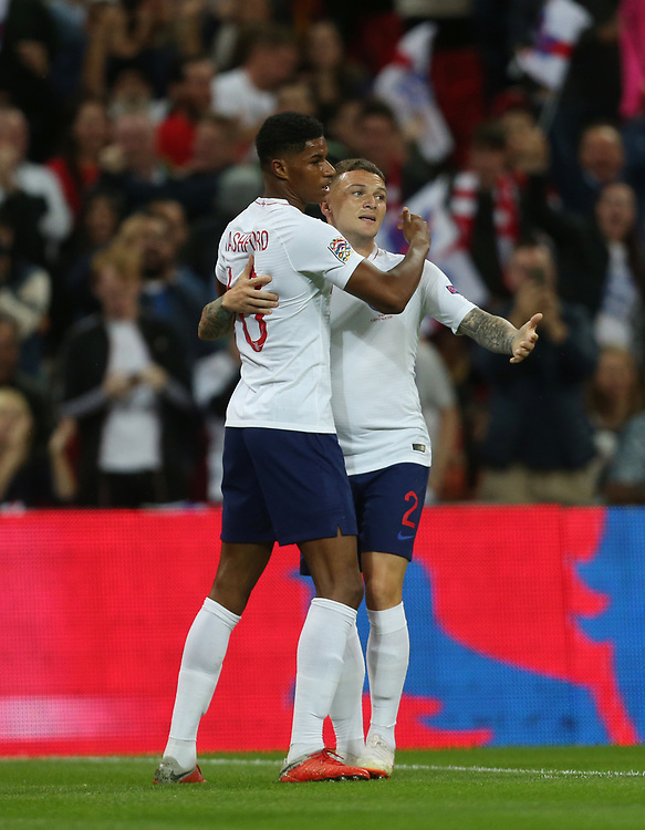 England's Marcus Rashford celebrates with Kieran Trippier after scoring his side's first goal<br /> <br /> Photographer Rob Newell/CameraSport<br /> <br /> UEFA Nations League - League A - Group 4 - England v Spain - Saturday September 8th 2018 - Wembley Stadium - London<br /> <br /> World Copyright © 2018 CameraSport. All rights reserved. 43 Linden Ave. Countesthorpe. Leicester. England. LE8 5PG - Tel: +44 (0) 116 277 4147 - admin@camerasport.com - www.camerasport.com