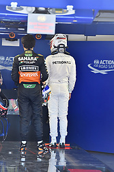 06.06.2015, Circuit Gilles Villeneuve, Montreal, CAN, FIA, Formel 1, Grand Prix von Kanada, Qualifying, im Bild Sergio Perez (MEX) Force India and Lewis Hamilton (GBR) Mercedes AMG F1 in parc ferme // during Qualifyings of the Canadian Formula One Grand Prix at the Circuit Gilles Villeneuve in Montreal, Canada on 2015/06/06. EXPA Pictures © 2015, PhotoCredit: EXPA/ Sutton Images/ Mark<br /> <br /> *****ATTENTION - for AUT, SLO, CRO, SRB, BIH, MAZ only*****