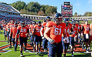 Oct. 15, 2011-Charlottesville, VA.-USA- Virginia Cavaliers players head for the locker room before the start of an ACC football game against Georgia Tech at Scott Stadium. Virginia won 24-21. (Credit Image: © Andrew Shurtleff/)