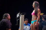DALLAS, TX - MARCH 13:  UFC women's strawweight champion Carla Esparza stands on the scale during the UFC 185 weigh-ins at the Kay Bailey Hutchison Convention Center on March 13, 2015 in Dallas, Texas. (Photo by Cooper Neill/Zuffa LLC/Zuffa LLC via Getty Images) *** Local Caption *** Carla Esparza
