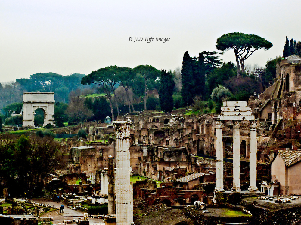 Imperial Forum from the Capitoline looking toward the Arch of Titus.