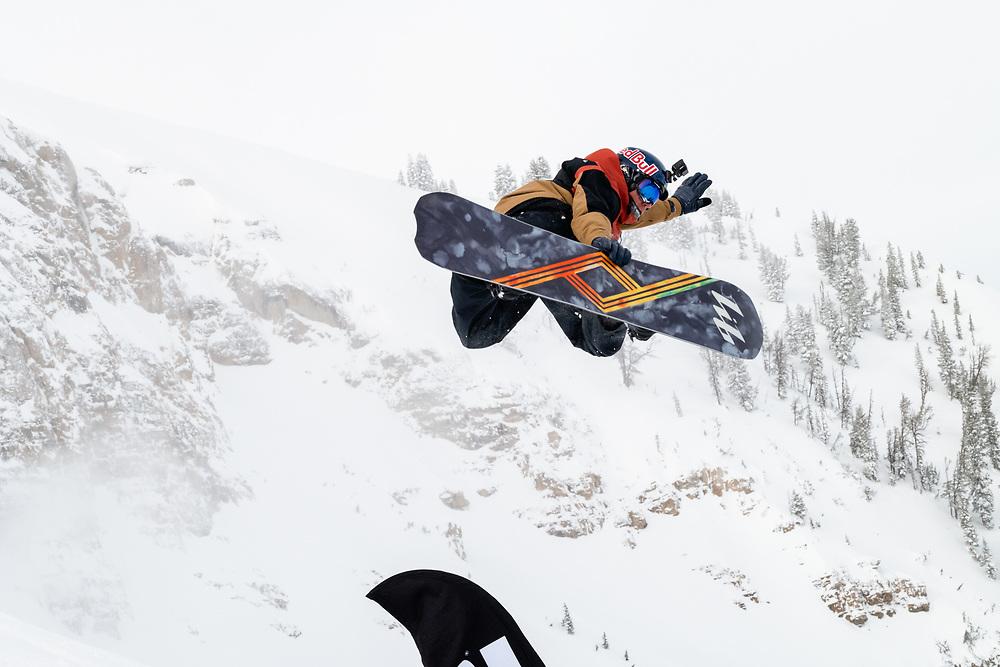 Travis Rice off the bottom jump.