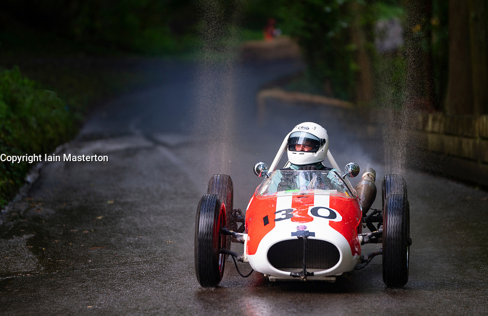 Boness Revival hillclimb motorsport event in Boness, Scotland, UK. The 2019 Bo'ness Revival Classic and Hillclimb, Scotland's first purpose-built motorsport venue, it marked 60 years since double Formula 1 World Champion Jim Clark competed here.  It took place Saturday 31 August and Sunday 1 September 2019. 30 Harry Simpson. Ginetta g4