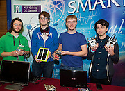 27/11/2016 REPRO FREE: NUI Galway Smart Science Exhibit Team, Computer Science students Alan Coffey, Eoghan Geoghegan, Jevan Hansbury and Tim Murphy. inNUI Galway as part of the Galway Science & Technology Festival.<br />  <br /> <br /> Photo: Andrew Downes, Xposure.