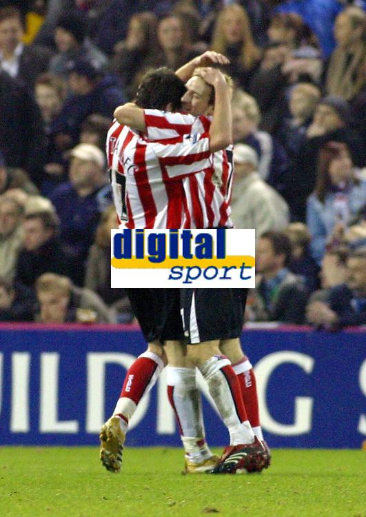 Photo: Dave Linney.<br />West Bromwich Albion v Sunderland. The Barclays Premiership. 21/01/2006Sunderland's .Anthony Le Tallec(L) celebrates his goal for Sunderland