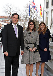 Princess Beatrice and Princess Eugenie pose with David McAllister as they arrive to call on Minister David McAllister of Lower Saxony, Hanover, Germany, January 18, 2013. Photo by Imago / i-Images...UK ONLY