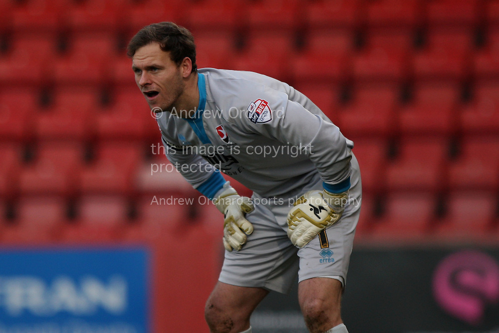 Cheltenham goalkeeper Trevor Carson. Skybet football league two match, Cheltenham Town  v Wycombe Wanderers at The Abbey Business Stadium, Whaddon Road in Cheltenham, Glos on Saturday 22nd November 2014.<br /> pic by Mark Hawkins, Andrew Orchard sports photography.