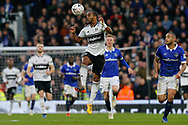 Fulham defender Denis Odoi (4) heads the ball in the direction of his goalkeeper during The FA Cup 3rd round match between Fulham and Oldham Athletic at Craven Cottage, London, England on 6 January 2019.