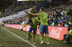 November 8, 2018 - Seattle, Washington, U.S - HANDWALLA BWANA (70), WILL BRUIN (17) celebrate with RAUL RUIDIAZ (9) after a RUIDIAZ 2nd half goal. The Portland Timbers visited the Seattle Sounders in a MLS Western Conference semi-final match at Century Link Field in Seattle, WA. (Credit Image: © Jeff Halstead/ZUMA Wire)