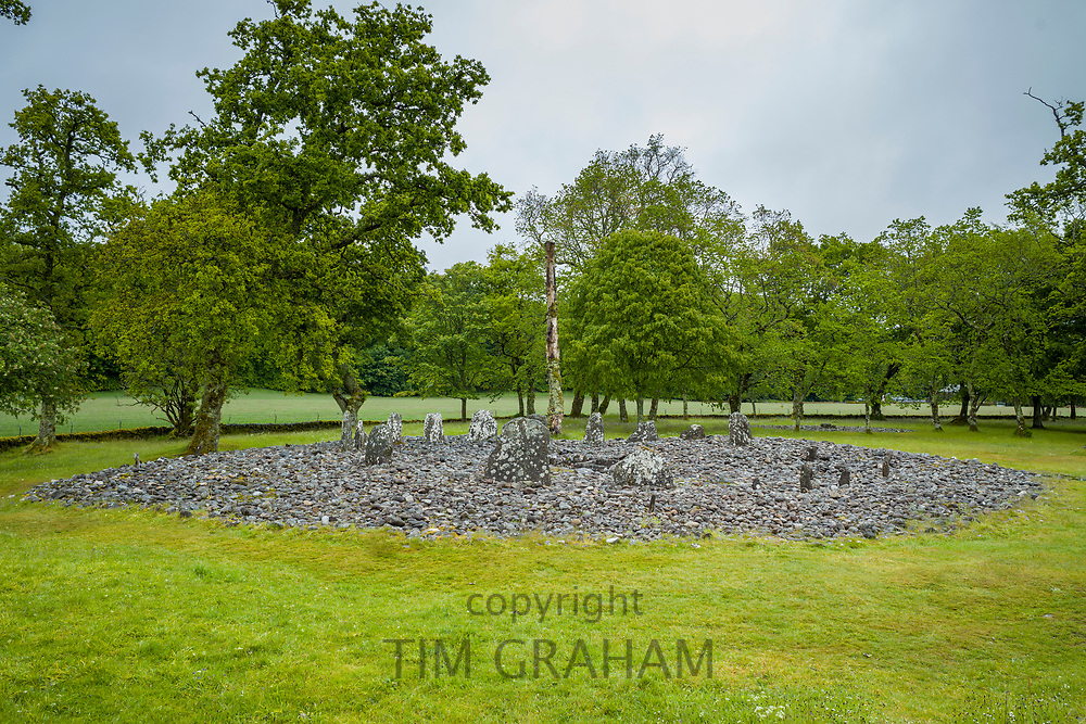 Nether Largie standing stones and circle burial monument from the Bronze Age at Kilmartin Glen, Argyll, Scotland