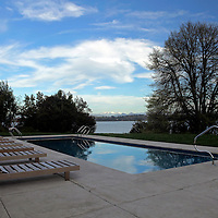 South America, Chile, Puerto Varas. Hotel Patagonico Pool.