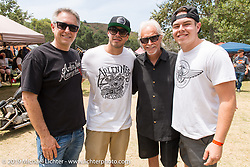 Three generations of the Ness family; (L>R) Cory, Zach, Arlen and Max at Born Free-7 at Oak Canyon Ranch. Silverado, CA. USA. Sunday, June 28, 2015.  Photography ©2015 Michael Lichter.