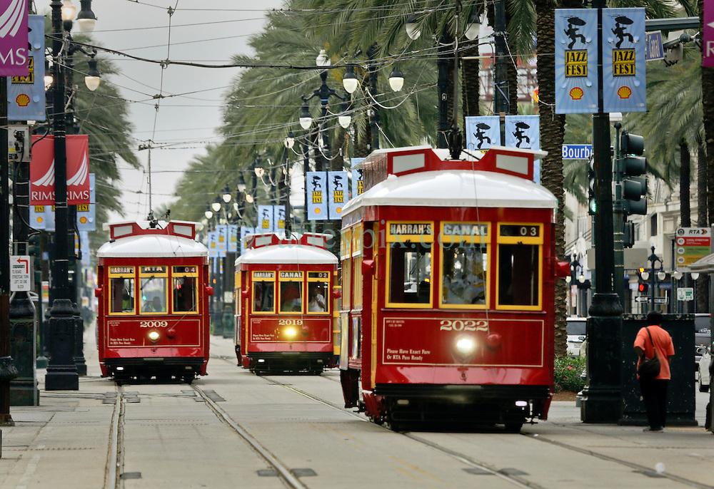 20 April 2015. New Orleans, Louisiana.<br /> Street cars on Canal Street. <br /> Photo; Charlie Varley/varleypix.com