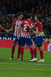 October 27, 2018 - Madrid, Madrid, Spain - Filipe Luis (R) celebrates his goal..during the match between Atletico de Madrid vs Real Sociedad. Atletico de Madrid won by 2 to 0 over Real Sociedad whit goals of Godin and Filipe Luis. (Credit Image: © Jorge Gonzalez/Pacific Press via ZUMA Wire)