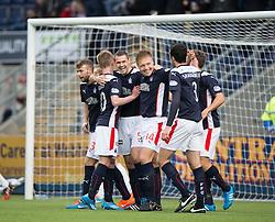 Falkirk's David McCracken cele scoring their fifth goal.<br /> Falkirk 6 v 0 Cowdenbeath, Scottish Championship game played at The Falkirk Stadium, 25/10/2014.